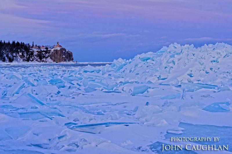 Huge piles of ice were heaved up along the shoreline near the Split Rock Lighthouse.