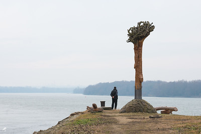 """My Father, standing at the """"end of the world"""", Makád, the most Southern part of the Island on a dull, January day."""