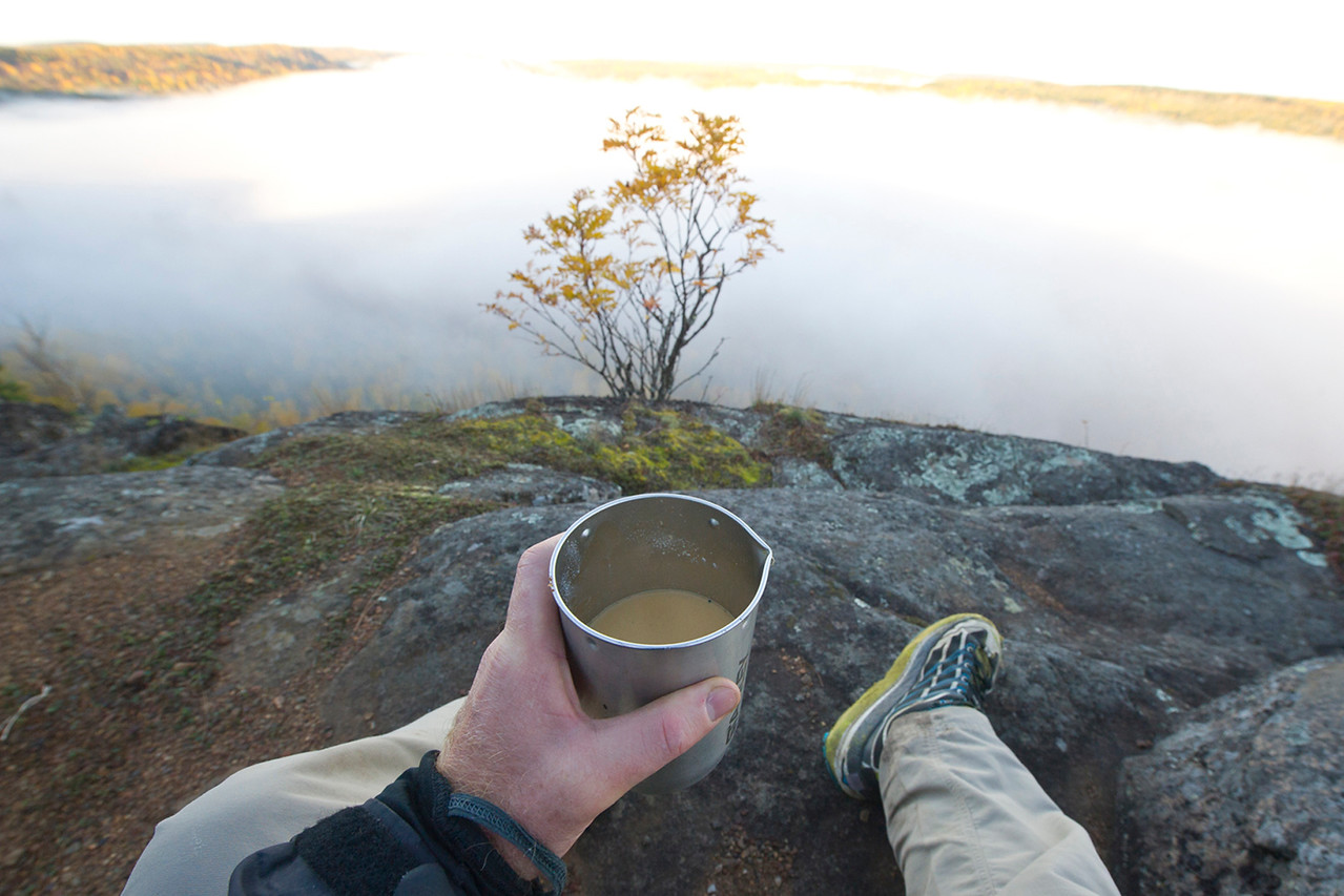 No better way to get your day started than with a cup of coffee. I sat and watched the sun rise and slowly dissipate the steam off the lake. Eventually the steam cleared and i could see the lakes below.