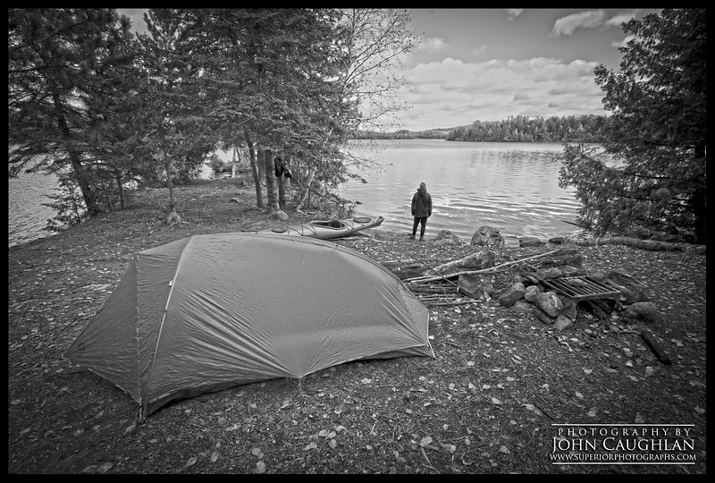 The second half of my trip I spent it in the Boundary Waters. I set up base camp on this island. My goal was to explore each day and hopefully locate a 1,000-year-old cedar tree I had heard about.