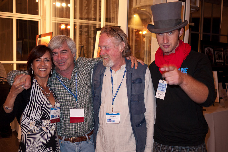 Michele Hall, Mike deGruy, Mark Shelley and a guy in a top hat