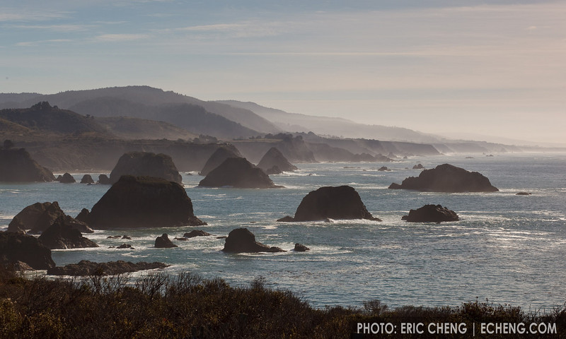 The coastline just south of Mendocino, California