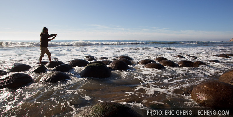 A photographer at Bowling Ball beach about an hour after low tide (Mendocino coast, California)