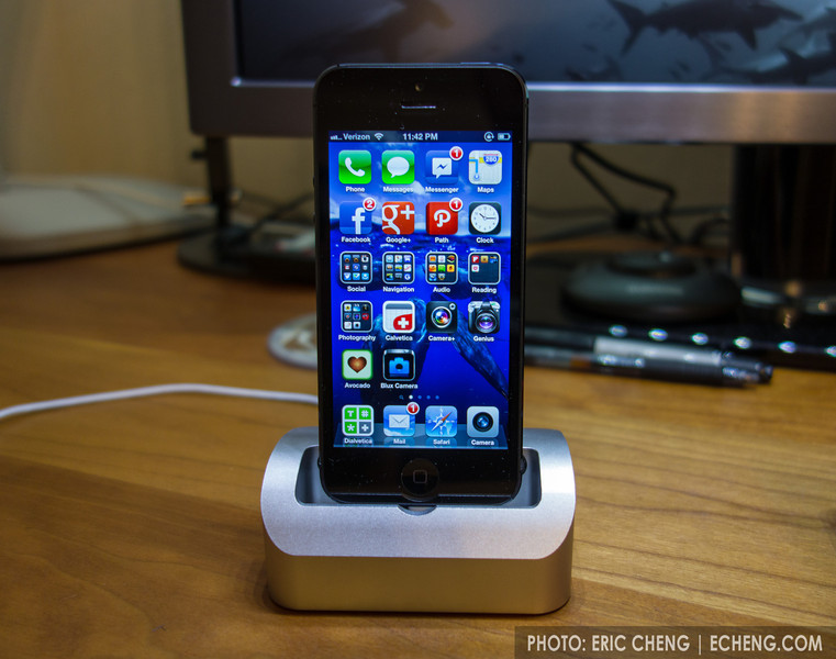 Elevation Dock with iPhone 5 adapter from a FDM 3D printer (Mike Hellers design)