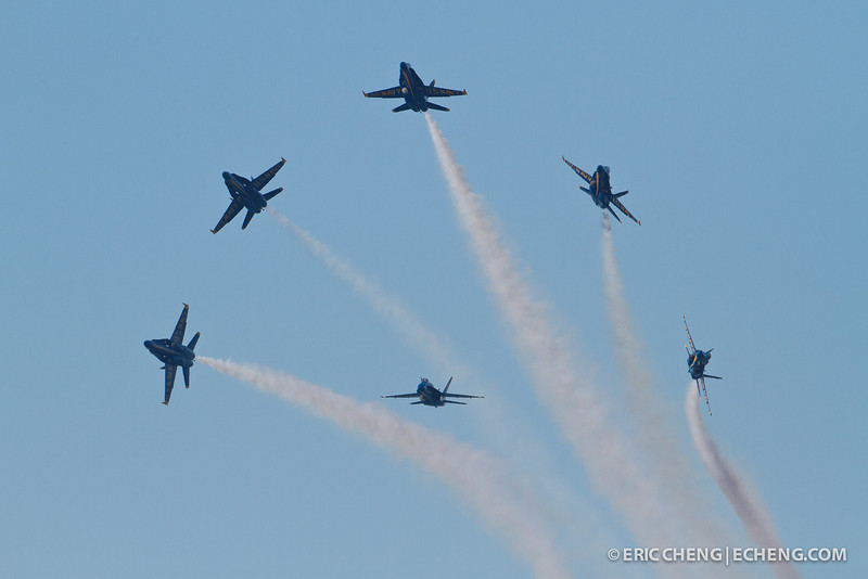 Blue Angels break off from formation, with contrails. Fleet Week in San Francisco, CA. October 8, 2011.