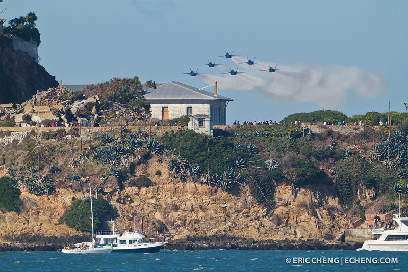Blue Angels buzz Angel Island. Fleet Week in San Francisco, CA. October 8, 2011.