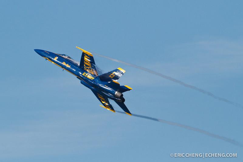 Lt. C. J. Simonsen, Blue Angel 6, with contrails. Fleet Week in San Francisco, CA. October 8, 2011.