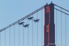 Blue Angels buzz the Golden Gate Bridge with landing gear down. Fleet Week in San Francisco, CA. October 8, 2011.
