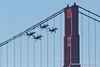 Blue Angels buzz the Golden Gate Bridge with landing gear down. Fleet Week in San Francisco, CA. October 8, 2011.