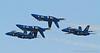 Blue Angels; Blue Angel 4 is inverted. Fleet Week in San Francisco, CA. October 8, 2011.