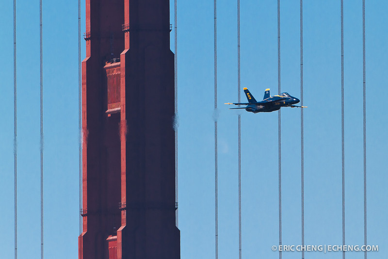 Blue Angel 6 buzzes the Golden Gate Bridge. Fleet Week in San Francisco, CA. October 8, 2011.