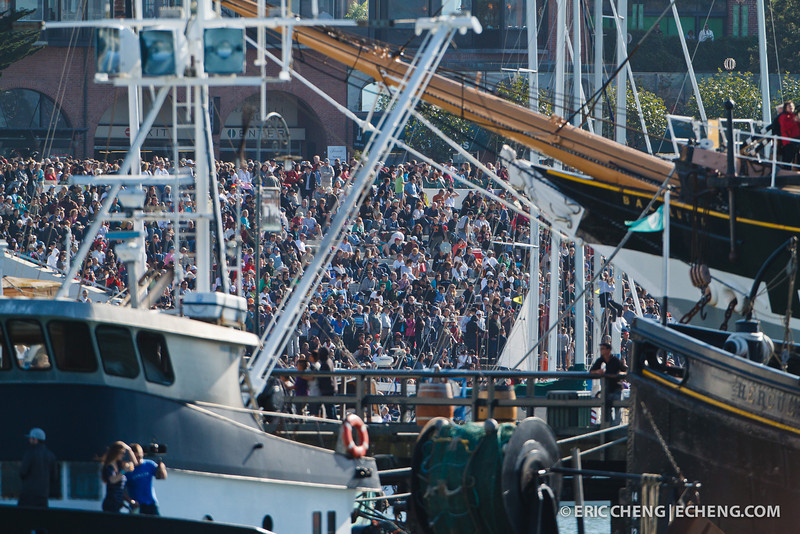 Huge crowds at Fleet Week in San Francisco, CA. October 8, 2011.