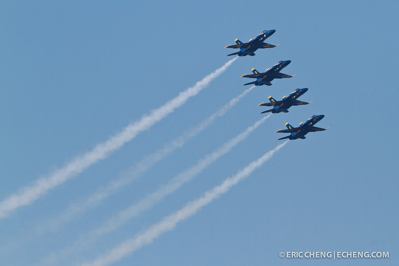 Blue Angels with contrails. Fleet Week in San Francisco, CA. October 8, 2011.