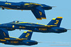 Blue Angels; Blue Angel 4 is inverted. Close-up of Maj Brent Stevens, Blue Angel 3. Fleet Week in San Francisco, CA. October 8, 2011.