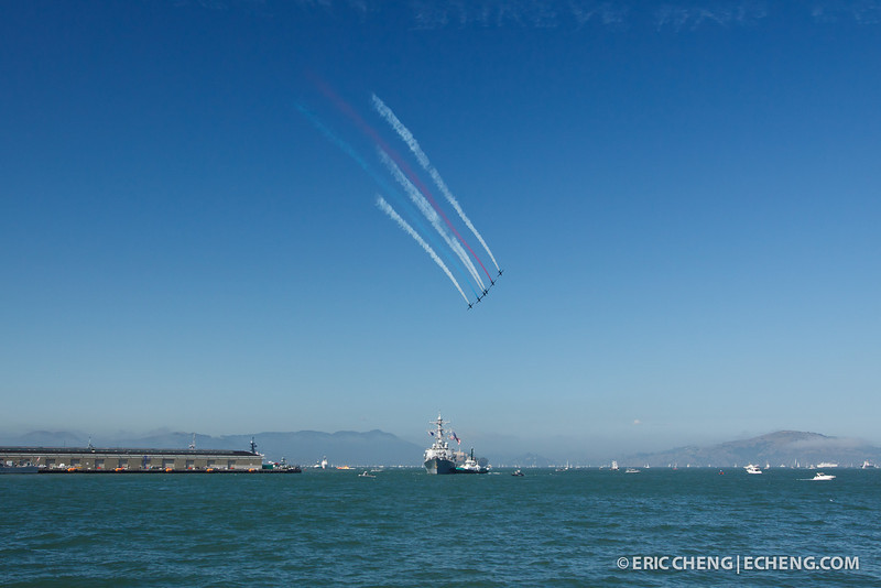 The Patriots Jet Team with contrails. Fleet Week in San Francisco, CA. October 8, 2011.
