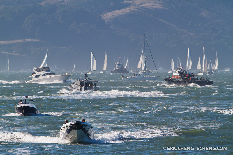 Hundreds of boats are out for Fleet Week in San Francisco, CA. October 8, 2011.