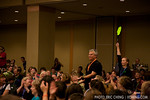 Richard Dean Anderson bids on the Sea Shepherd flag from the audience. Fans near him nearly faint.