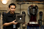 "Eric Cheng with the ""Fountain of Youth"" prop from Stargate SG-1"