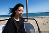 Hitomi on the skyway ride at the Santa Cruz Boardwalk