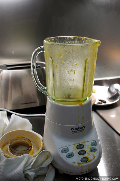 The butternut squash nearly burst out of the blender, which would have been bad because it was boiling hot.