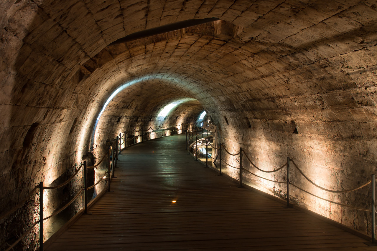 Templar tunnel leading from the port to the citadel