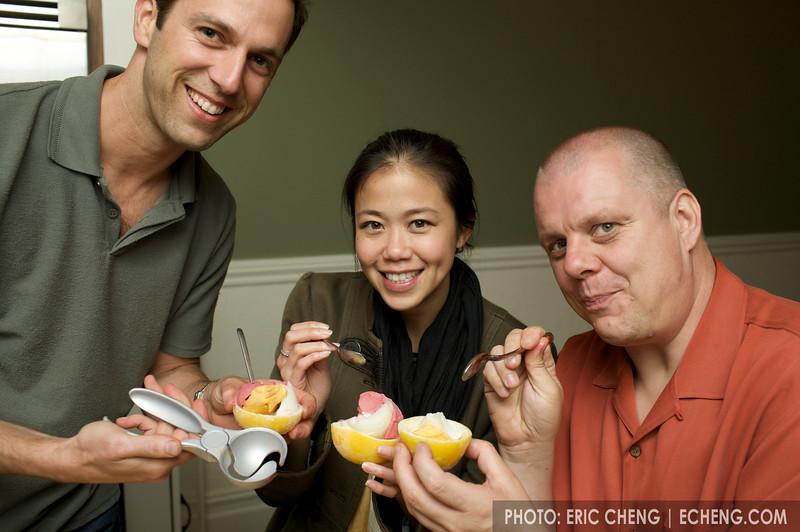 Antoni, Pam, Thon and sorbet in frozen lemon halves