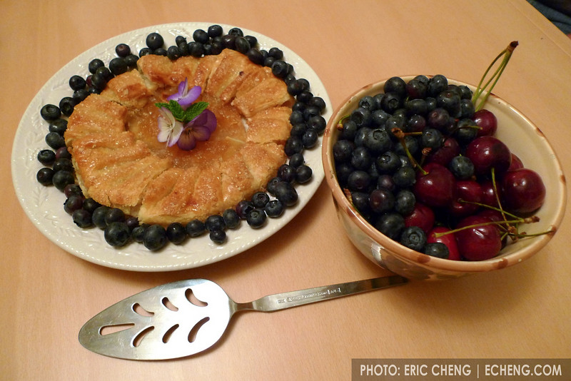 Apple crostata and berries and cherries