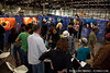 The booth gets busy