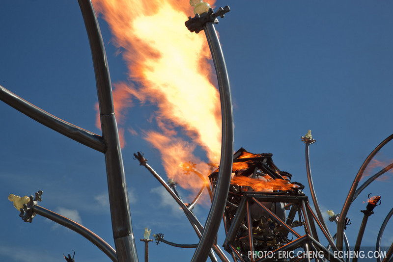 Giant metal and fire sculpture