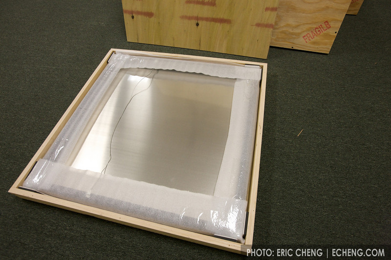 Each framed aluminum print was wrapped in foam paper and crated carefully.