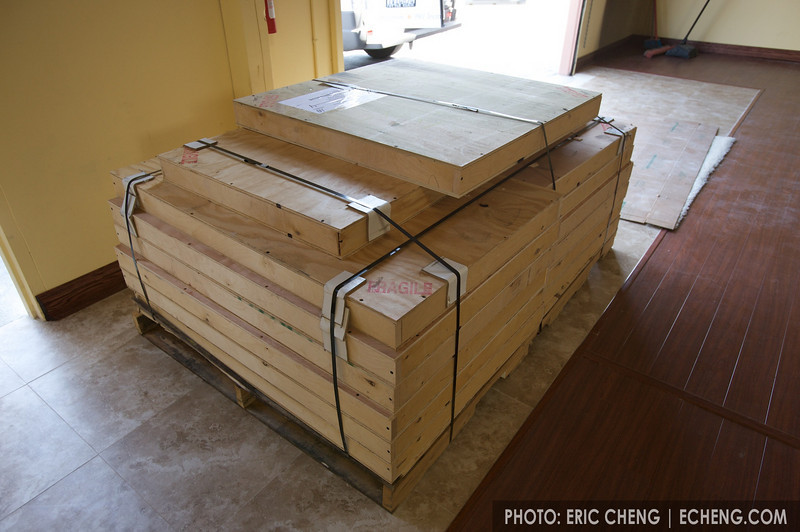 The 14 aluminum prints were packed into crates and shipped via freight directly to the gallery. Those are aluminum straps you see holding them all together -- very sturdy!