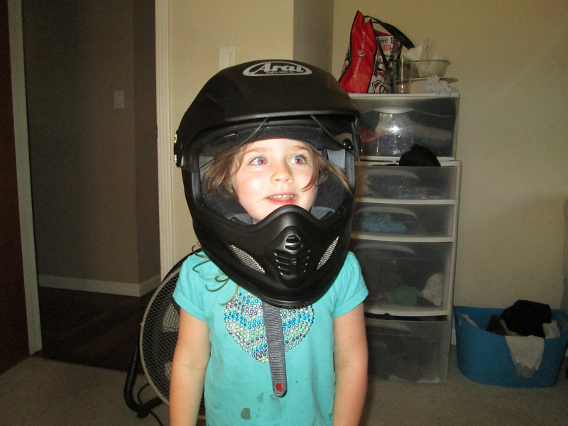 Piper trying out the new helmet