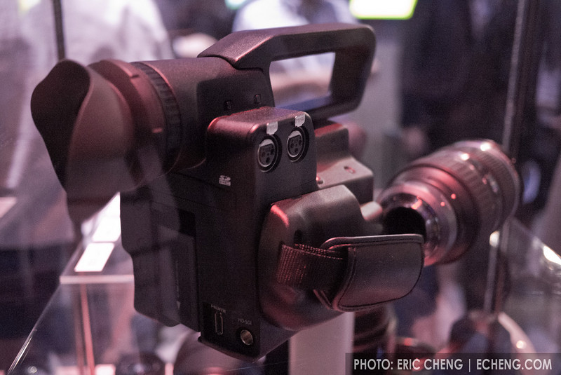 "Panasonic AG-AF100, 4/3"" professional high-definition camcorder prototype (behind glass)"