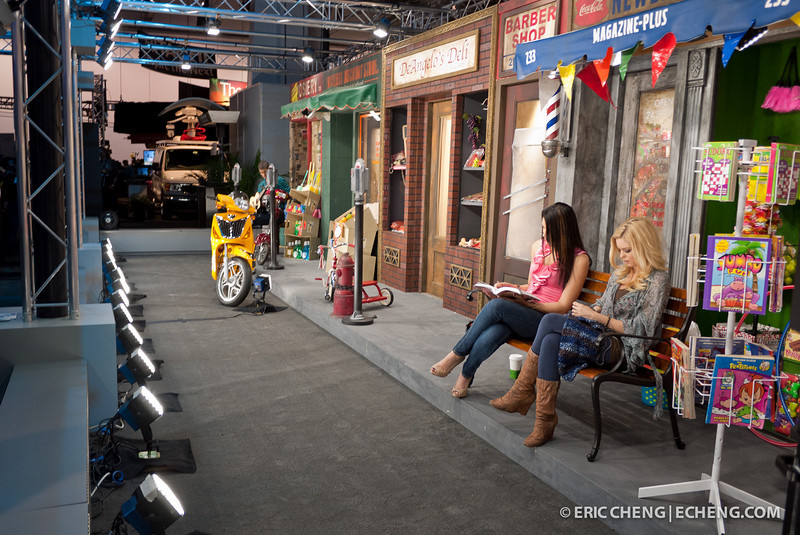 Typical NAB Show 2011 demo set: contrived scene with female models doing soemething