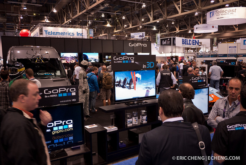 The GoPro booth was absolutely packed with people. The line for orders went out into the hall.