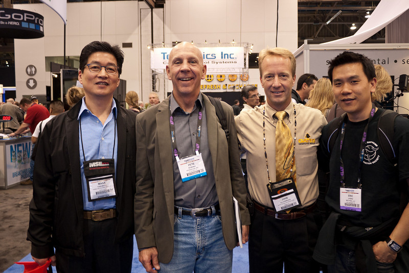 Masa Yabumoto, Pete Romano (CEO, Hydroflex), John Ellerbrock (CEO, Gates Housings), and Eric Cheng at NAB Show 2011