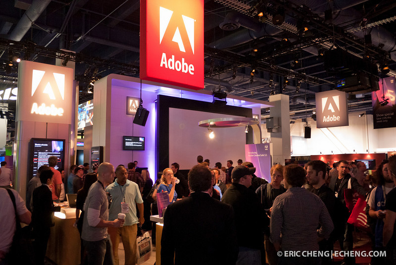 Adobe's crowded booth featured non-stop seminars on popular topics