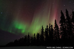Northern lights (aurora borealis) just outside of Fairbanks, Alaska on the evening of March 22-23, 2012. Red is visible, which is rare. Canon 7D, EF 16-25mm f/2.8L USM lens @ 16mm, 15 sec at ...
