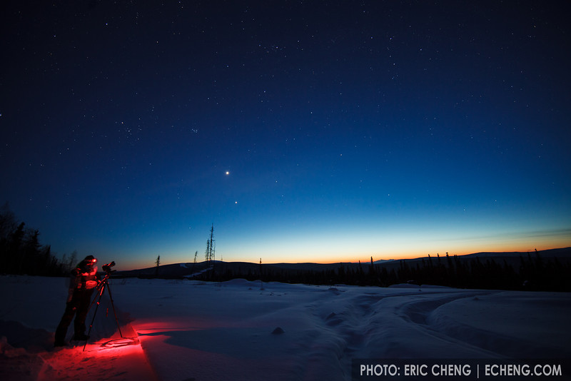 Photographer Julian Cohen takes pictures of the dusk sky. Fairbanks, Alaska.