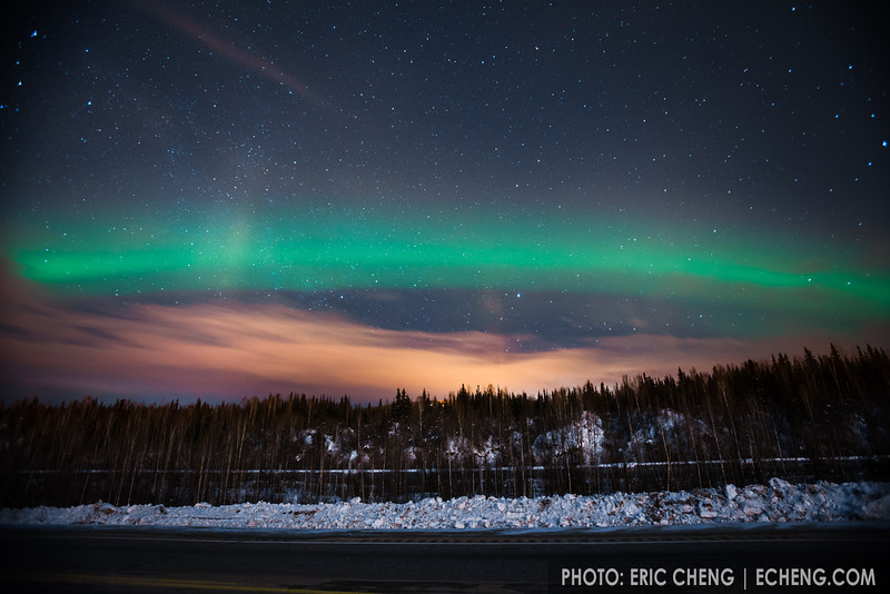 Northern lights (aurora borealis) just north of Fairbanks, Alaska.
