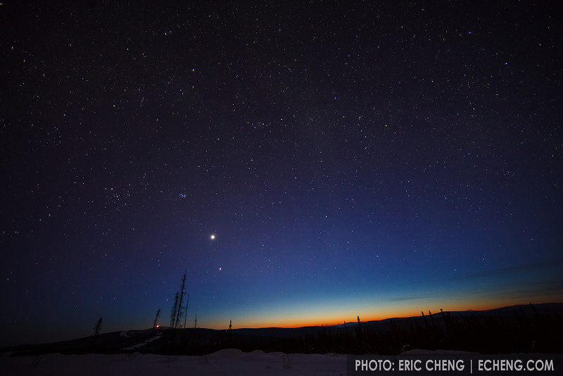Starry dusk sky, just outside of Fairbanks, Alaska.
