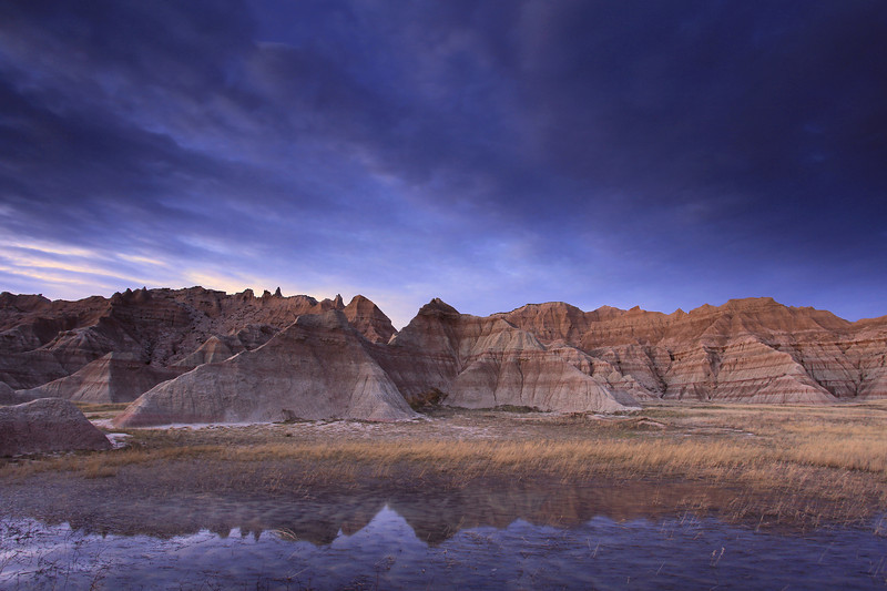 "MONDAY, APRIL 20, 2009<br /> <br /> SOUTH DAKOTA 0803<br /> <br /> ""Dusk, Badlands National Park""<br /> <br /> Camera: Canon EOS 5D Mark II<br /> Lens: Canon EF 17-40mm<br /> Focal length: 17mm<br /> Shutter speed: 3.2 seconds<br /> Aperture: f/8<br /> ISO: 200"