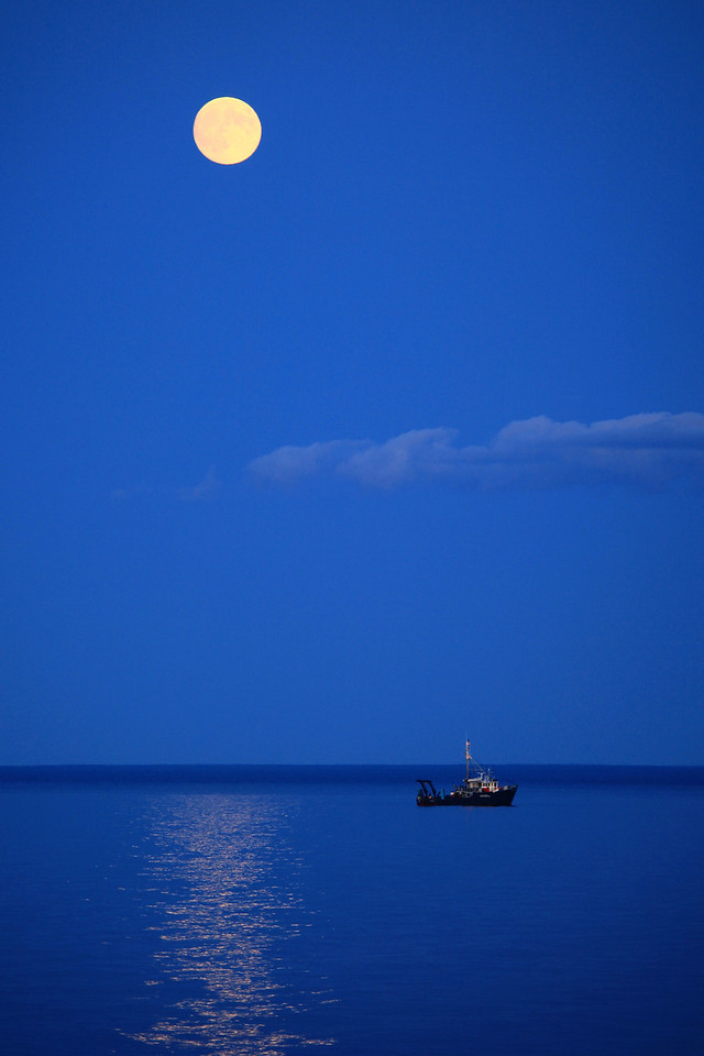 "TUESDAY, AUGUST 4, 2009<br /> <br /> SUPERIOR BOATS 4435<br /> <br /> ""August moon over the research boat 'Blue Heron' near Five Mile Rock - Grand Marais, MN""<br /> <br /> This is another ""by chance"" image that, if I wasn't in the habit of ALWAYS having my camera bag in the car with me, I never would have gotten. This image was captured a few miles north of Grand Marais this evening at 8:35 p.m. I spent afternoon working on my woodpile, stacking the wood so it has as much time to dry as possible before winter. After all that work I was really craving a pizza from Sven and Ole's in Grand Marais, so after a quick shower I hopped in the car and headed to town. On the way in I spotted the research vessel ""Blue Heron"" a few miles north of town. The moon was also rising, and I drove along the road until the moon and the boat were lined up the way I wanted, then snapped this image through the open driver's side window of the car. The Blue Heron is owned by the Large Lakes Observatory at the University of Minnesota-Duluth and is often on the lake working with water quality issues, fish populations and the geo-physical structure of Lake Superior. Originally built for fishing off the Grand Banks in the Atlantic Ocean, the vessel was purchased by the University of Minnesota-Duluth in 1997 and was sailed from Portland, Maine up the St. Lawrence Seaway to Duluth, where it was converted to a research vessel.<br /> <br /> Camera: Canon EOS 5D Mark II<br /> Lens: Canon EF 100-400mm<br /> Focal length: 235mm<br /> Shutter speed: 1/80<br /> Aperture: f/5<br /> ISO: 400"