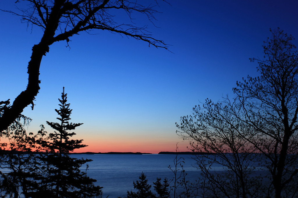 "WEDNESDAY, JUNE 3, 2009<br /> <br /> SUPERIOR SPRING 1802<br /> <br /> ""4:00 a.m. on Wauswaugoning Bay""<br /> <br /> Camera: Canon EOS 5D Mark II<br /> Lens: Canon EF 17-40mm<br /> Focal length: 40mm<br /> Shutter speed: 3 seconds<br /> Aperture: f/4<br /> ISO: 50"