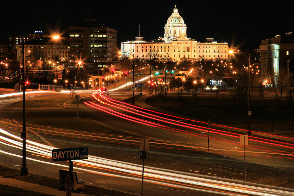 "TUESDAY, MARCH 31, 2009<br /> <br /> TWIN CITIES 7194<br /> <br /> ""Night traffic and capital building in St. Paul""<br /> <br /> Today I left home for a 3 week road trip to the southwest, with the primary destinations being in southern Utah and northern Arizona. On my way through the twin cities of Minneapolis and St. Paul I stopped to create some night images of the cities, which is something I've been wanting to do for a very long time. As I drove towards the cities I wasn't sure if I would even be able to do any shooting or not, since the forecast was calling for snow later that night. Luck was with me as the snow held off long enough for me to get the shots I wanted. Tomorrow I'll be in Nebraska to spend a day or two photographing Sandhill Cranes on the Platte River.<br /> <br /> Camera: Canon EOS 5D Mark II<br /> Lens: Canon EF 24-105mm<br /> Focal length: 85mm<br /> Shutter speed: 20 seconds<br /> Aperture: f/16<br /> ISO: 100"