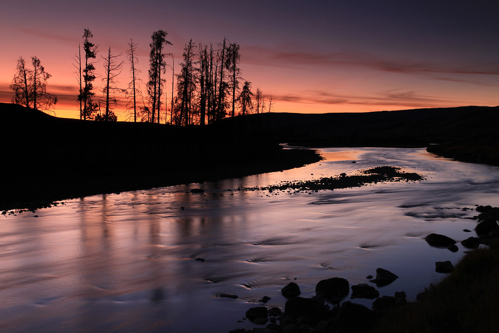 "MONDAY, SEPTEMBER 21, 2009<br /> <br /> WYOMING 6629<br /> <br /> ""Lamar Sunset""<br /> <br /> From a previous visit to Yellowstone in 2006, I knew that there was a spot on the Lamar River that was a great spot for sunset... although as I left Cooke City I was doubting whether or not I would get there in time. As it turns out, I arrived at the river just in time to shoot my favorite light, which is the dusk light that occurs shortly after the sun has set.<br /> <br /> After about 20 minutes of shooting on the Lamar River the best of the light was gone, and it was time to drive the last few miles to Canyon Village.<br /> <br /> Camera: Canon EOS 5D Mark II<br /> Lens: Canon EF 24-105mm<br /> Focal length: 47mm<br /> Shutter speed: 5 seconds<br /> Aperture: f/16<br /> ISO: 100"
