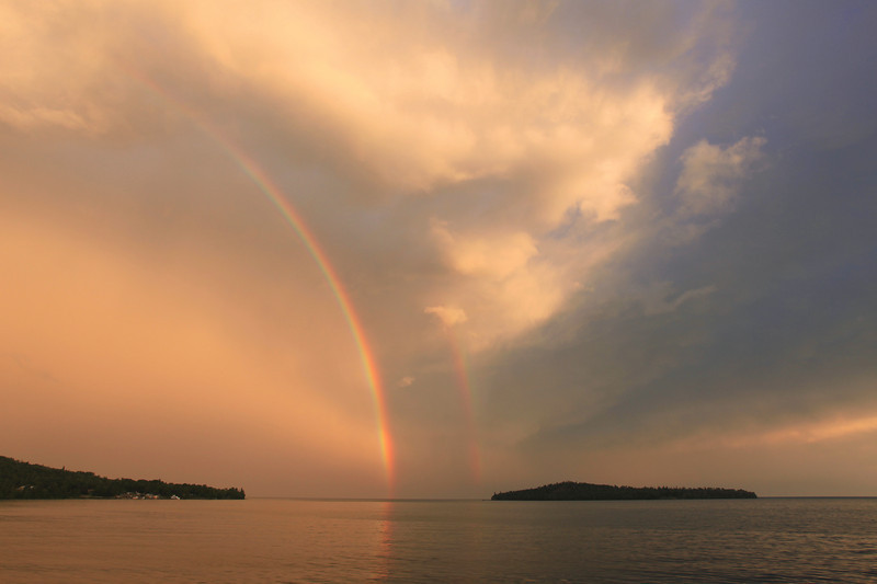 "TUESDAY, AUGUST 9, 2011<br /> <br /> SUPERIOR SUMMER 1422<br /> <br /> ""Rainbow Sunset - Grand Portage Bay""<br /> <br /> This photo was taken last night at sunset just after a brief thunderstorm passed over Grand Portage Bay.<br /> <br /> Camera: Canon EOS 5D Mark II<br /> Lens: Canon EF 17-40mm<br /> Focal length: 20mm<br /> Shutter speed: 1/50<br /> Aperture: f/8<br /> ISO: 200"