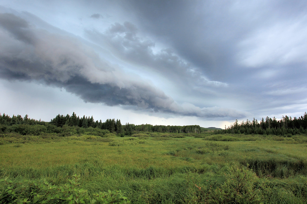 "FRIDAY, JULY 8, 2011<br /> <br /> FOREST 9543<br /> <br /> ""The Coming Storm""<br /> <br /> Here's another cool cloud image... this one was taken late yesterday afternoon as the first of several fast-moving thunderstorms came over the tip of Minnesota's Arrowhead region. Not more than two minutes after I made this shot, the rain was coming down so hard that visibility was minimal at best. The wipers on my truck could hardly keep up with it!<br /> <br /> Camera: Canon EOS 5D Mark II<br /> Lens: Canon EF 17-40mm<br /> Focal length: 17mm<br /> Shutter speed: 1/10<br /> Aperture: f/16<br /> ISO: 400"