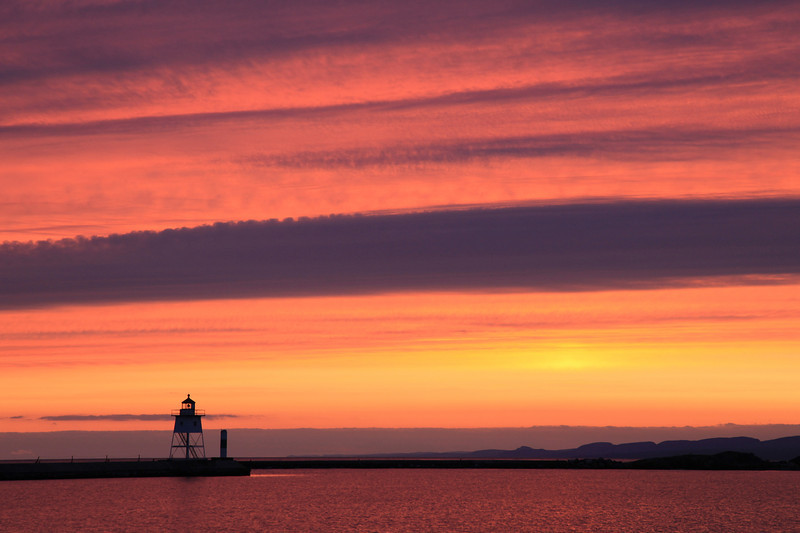 "WEDNESDAY, NOVEMBER 9, 2011<br /> <br /> SUPERIOR FALL 4310<br /> <br /> ""Grand Marais Sunset - November 9, 2011""<br /> <br /> This was the scene tonight at sunset in Grand Marais, Minnesota. It was cloudy all day, but as sometimes happens during this gray time of year, the day ended with a splash of color!<br /> <br /> Camera: Canon EOS 5D Mark II<br /> Lens: Canon EF 24-105mm<br /> Focal length: 105mm<br /> Shutter speed: 1/50<br /> Aperture: f/8<br /> ISO: 400"