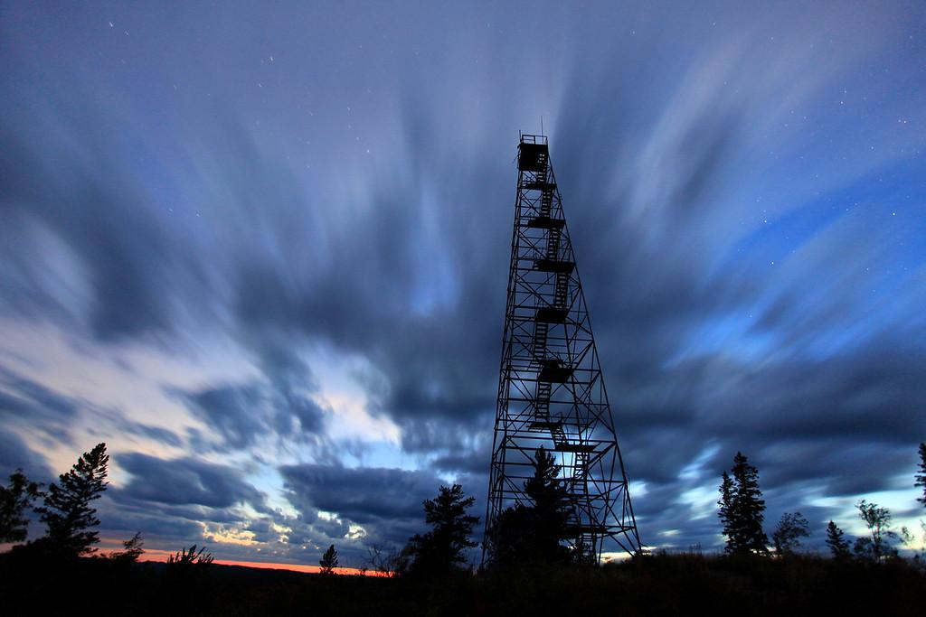 "FRIDAY, SEPTEMBER 16, 2011<br /> <br /> FOREST 1881<br /> <br /> ""Night begins on Mt. Maude""<br /> <br /> A 60 second exposure of fast-moving clouds at dusk taken on September 2, 2011.<br /> <br /> Camera: Canon EOS 5D Mark II<br /> Lens: Canon EF 17-40mm<br /> Focal length: 17mm<br /> Shutter speed: 60 seconds<br /> Aperture: f/4<br /> ISO: 800"